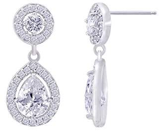 Platinum-Plated Sterling Simulated Diamonds Pear Shaped Drop Earrings