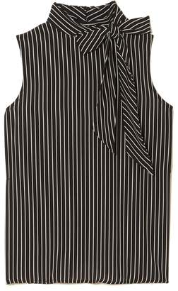 Vince Camuto Striped Tie-neck Top