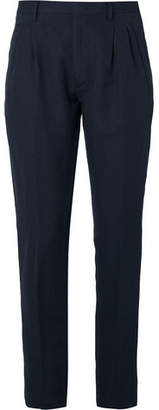 Zanella Navy Newton Slim-fit Pleated Herringbone Cotton And Linen-blend Trousers - Navy