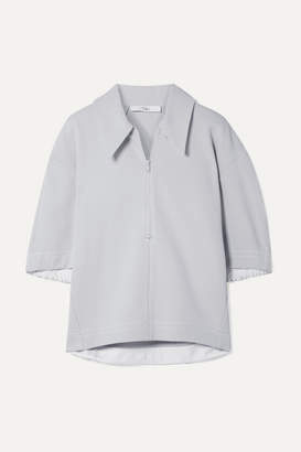 Tibi Frisse Oversized Ponte Polo Shirt - Light gray