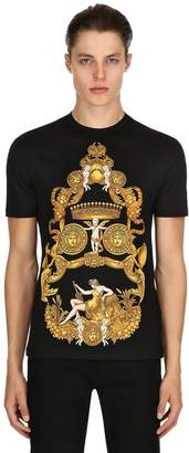 Versace Baroque Printed Cotton Jersey T-Shirt