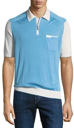 Stefano Ricci Men's Silk-Cotton Zip-Placket Polo Shirt