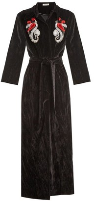 ATTICO Mia Embellished Cotton Velvet Robe Coat - Womens - Black Print
