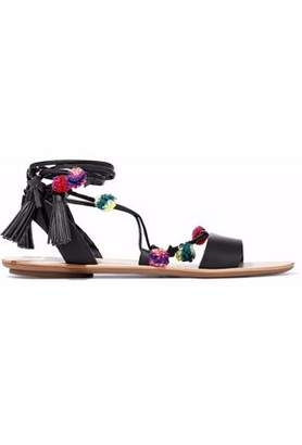 Loeffler Randall Embellished Lace-Up Leather Sandals