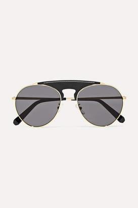 Loewe Sasha Aviator-style Gold-tone And Leather Sunglasses