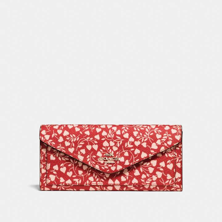 Coach New YorkCoach Soft Wallet With Love Leaf Print - LOVE LEAF/LIGHT GOLD - STYLE