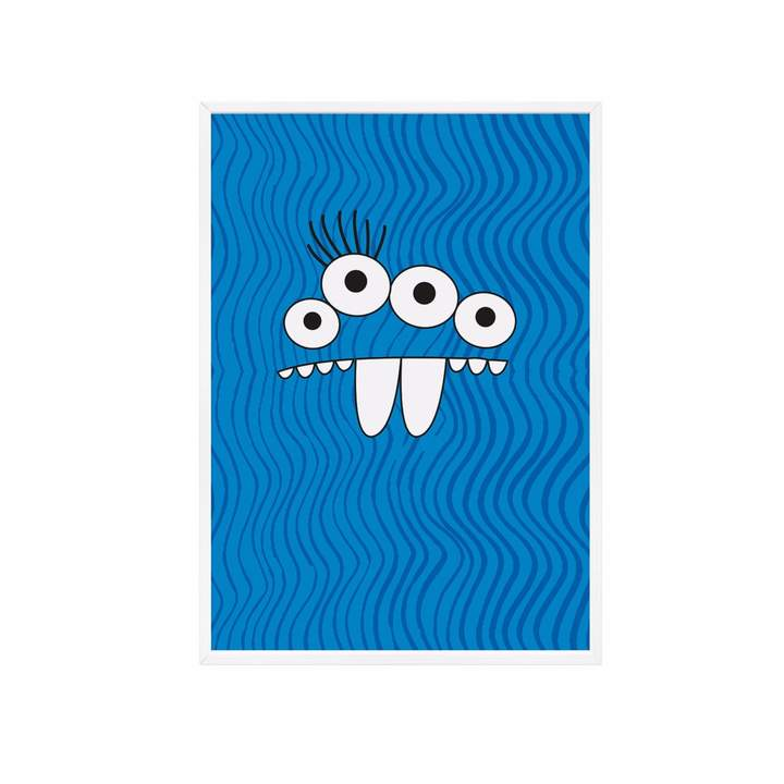 Milk and Poop - Blue Monster Kids Poster | A3 White Frame