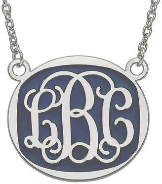 FINE JEWELRY Personalized 26mm Sterling Silver Enamel Oval Monogram Necklace