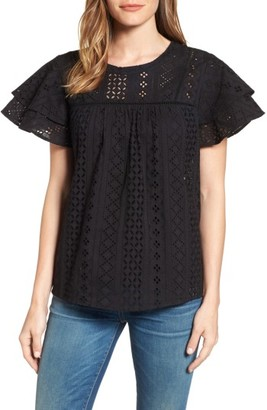 Women's Pleione Flutter Sleeve Eyelet Cotton Top $89 thestylecure.com