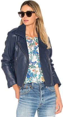 Parker Easton Leather Jacket in Blue $610 thestylecure.com