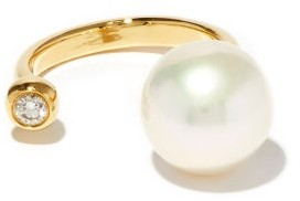 Mizuki Gold, Diamond And Pearl Ring - Womens - Pearl