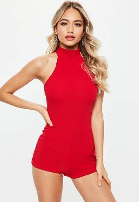 Missguided Red High Racer Neck Romper