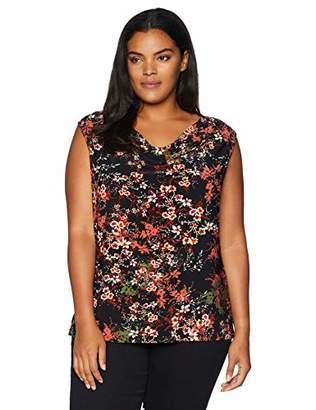 Nine West Women's Plus Size Cowl Neck Pritned Ity