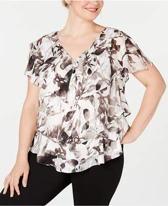 8b2d57158af848 Alex Evenings Plus Size V-Neck Tiered Blouse