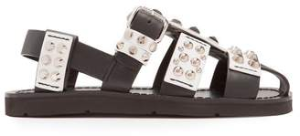 Prada Stud Embellished Leather Sandals - Womens - Black White