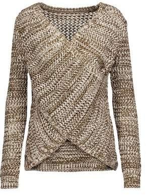 Derek Lam 10 Crosby Draped Wrap-Effect Open-Knit Cotton Sweater