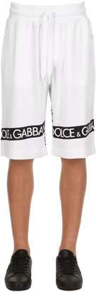 Dolce & Gabbana Logo Tape Printed Cotton Sweat Shorts