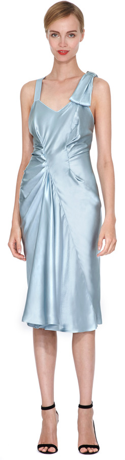 Nina Ricci Gathered and Draped Satin Dress