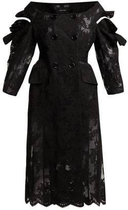 Simone Rocha Double Breasted Corded Lace Coat - Womens - Black
