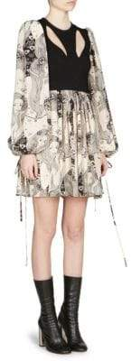 Alexander McQueen Women's Printed Silk Balloon-Sleeve Mini Dress - Ivory Black - Size 36 (0)