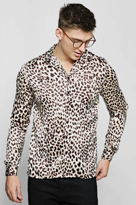 boohoo Long Sleeve Leopard Print Revere Satin Shirt