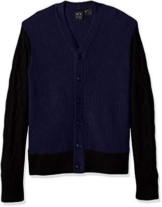 Armani Exchange A|X Men's Multi Knit Shawl Collar Cardigan