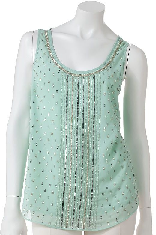 JLO by Jennifer Lopez embellished georgette tank