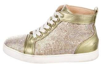 Christian Louboutin Leather Strass-Embellished Sneakers