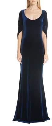 Badgley Mischka Velvet Drape Sleeve Gown
