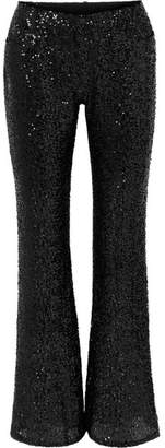 Anna Sui Sparkling Nights Sequined Mesh Flared Pants - Black