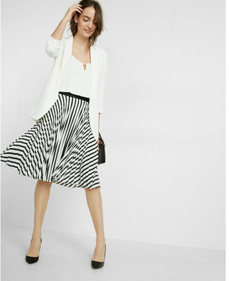 Express Pleated Stripe Midi Skirt $79.90 thestylecure.com