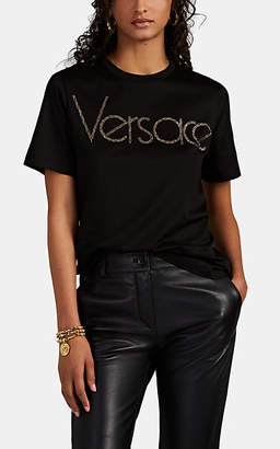 Versace Women's Embellished-Logo Cotton T-Shirt - Black