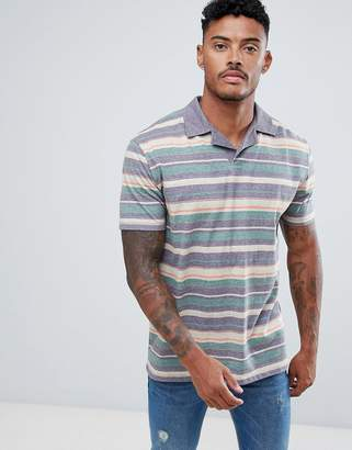 Asos Design DESIGN polo with retro stripe in linen look and revere collar
