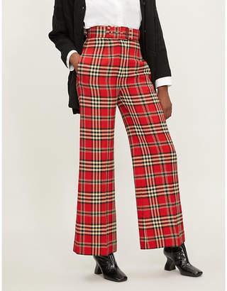 Emilia Wickstead Jana tartan-pattern wide-leg wool-blend trousers