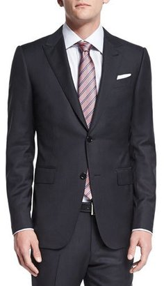 Ermenegildo Zegna Textured Solid Two-Piece Suit, Black $2,795 thestylecure.com
