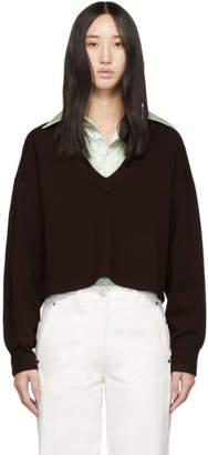 Tibi Burgundy V-Neck Cropped Sweater