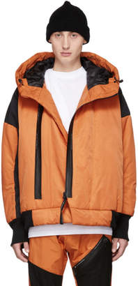 Julius Orange and Black Zip Puffer