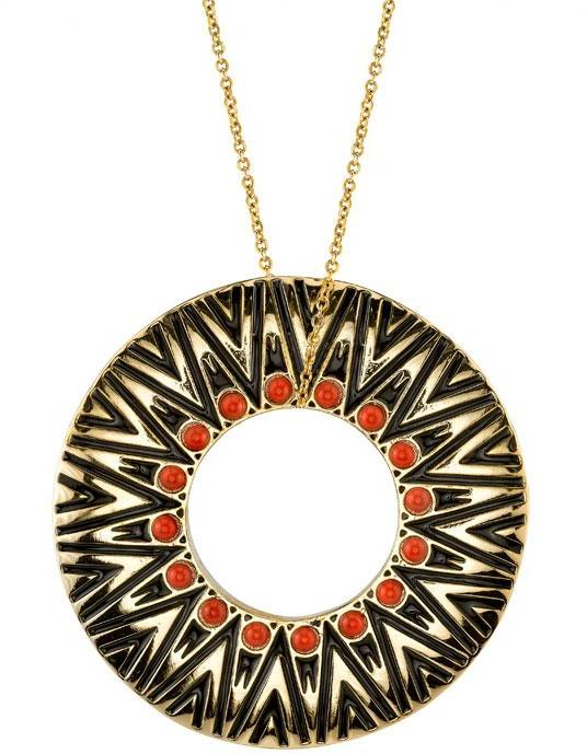 Tribal Circle Pendant in Coral  - by House of Harlow 1960