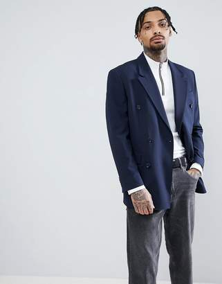 Asos DESIGN Oversized Double Breasted Blazer In Navy