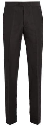 Wales Bonner - Tuxedo Contrast Panel Linen Blend Trousers - Mens - Black
