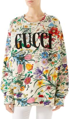Gucci Floral Print Cotton Jersey Sweatshirt