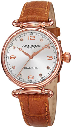 Akribos XXIV Women's Leather Diamond Watch