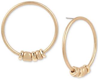 Robert Lee Morris Soho Large Gold-Tone Beaded Drop Hoop Earrings