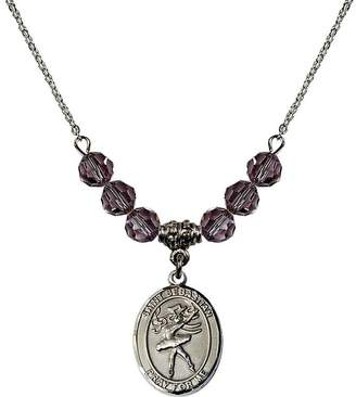 Sebastian Bonyak Jewelry Saint Necklace Collection 18-Inch Rhodium Plated Necklace with 6mm Light Purple February Birth Month Stone Beads and Saint Dance Charm