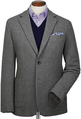 Charles Tyrwhitt Slim Fit Grey Plain Wool Flannel Wool Blazer Size 36