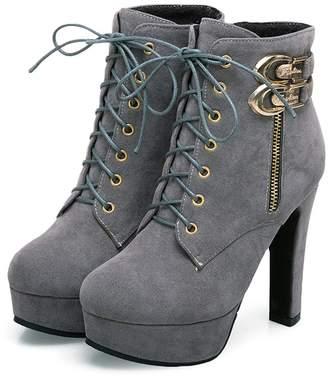 d532a70cb59c Susanny Womens Sexy Martin Boots Platform Chunky High Heels Ankle Booties  Lace Up Zipper Autumn Winter