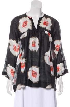 Etoile Isabel Marant Linen & Silk Floral Blouse