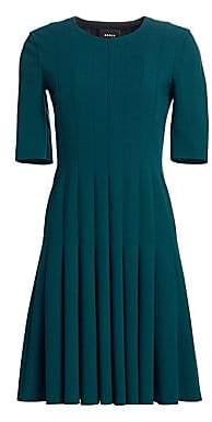 Akris Women's Elbow Sleeve A-Line Pleat Dress
