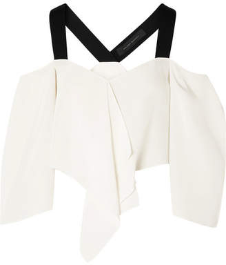 Roland Mouret Knit-trimmed Silk Crepe De Chine Cold-shoulder Top - White