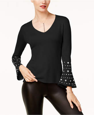 INC International Concepts Anna Sui Loves I.n.c. Embellished Bell-Sleeve Sweater, Created for Macy's